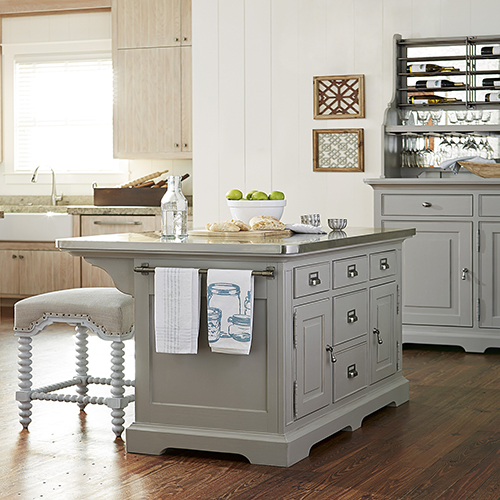 White Kitchen Island With Two Legs