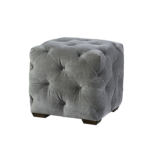 Curated Gray Fabric Barkley Ottoman