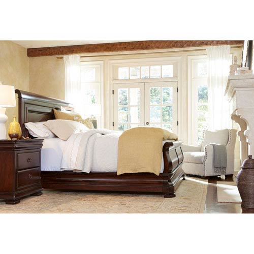 Louie P Classic Cherry Complete King Sleigh Bed
