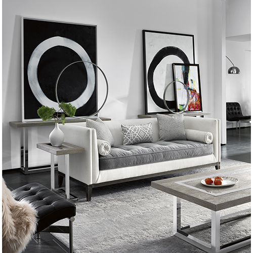 Universal Furniture Curated Gray and Linen Hartley Sofa