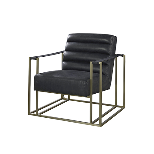 Curated Black Jensen Accent Chair in Burnham Black Leather