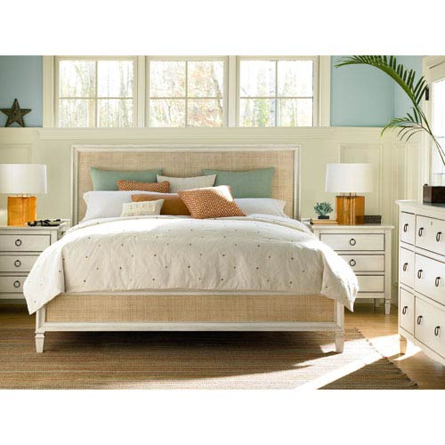Summer Hill White Complete Woven Accent Queen Bed