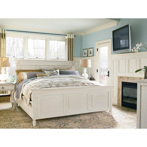 Summer Hill White Complete King Panel Bed