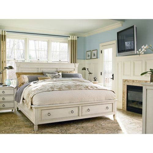 Universal Furniture Summer Hill White Complete Storage King Bed