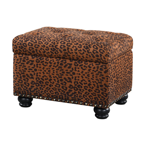 Designs4Comfort 5th Avenue Forest Leopard Print Storage Ottoman