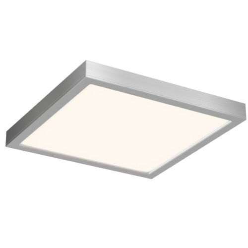 Satin Nickel 14-Inch Sqaure Indoor Outdoor LED Flush Mount