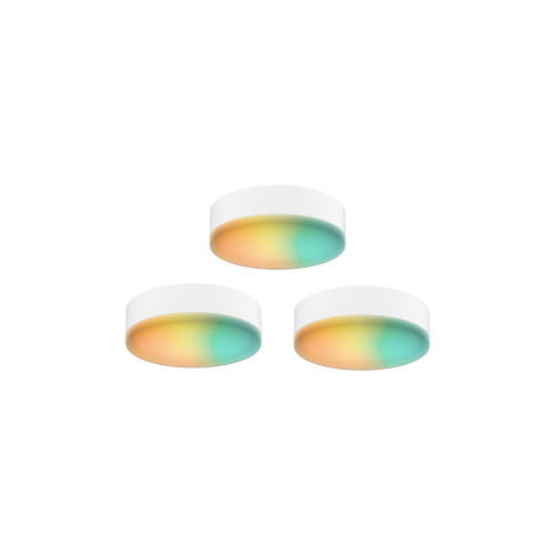 White RGB LED Under Cabinet Puck Light, Pack of 3