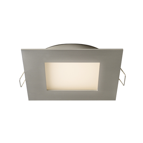 Satin Nickel Four-Inch LED Square Recessed Panel