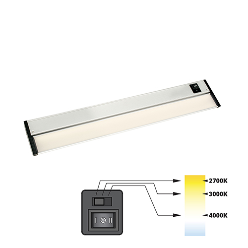 CCT Linear Satin Nickel 12-Inch 27K-4K LED Under Cabinet Strip Light