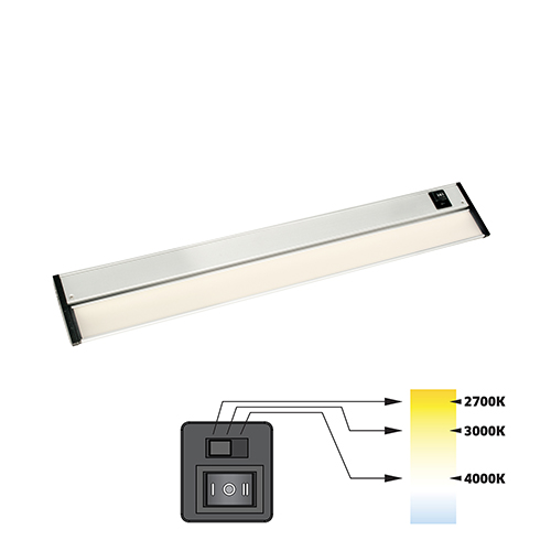 CCT Linear Satin Nickel 18-Inch 27K-4K LED Under Cabinet Strip Light