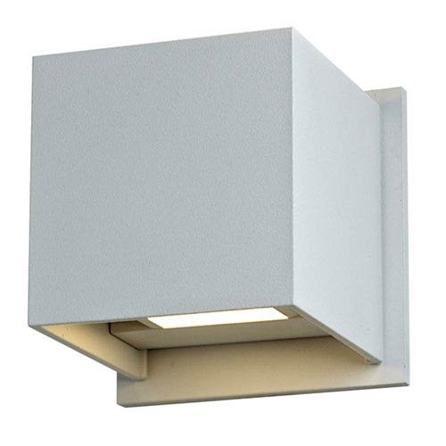 Silver Grey 7W Square LED Outdoor Wall Sconce