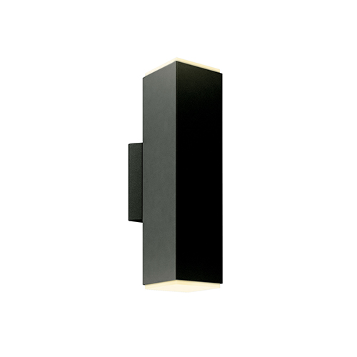 Black LED Outdoor Square Cylinder Wall Sconce