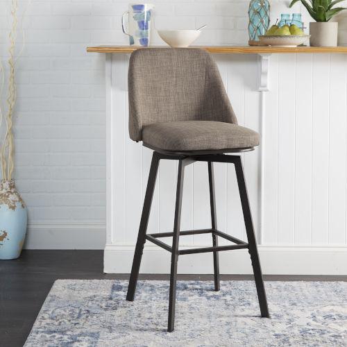 Paisley Dark Brown and Gunmetal Upholstered Adjustable Barstool