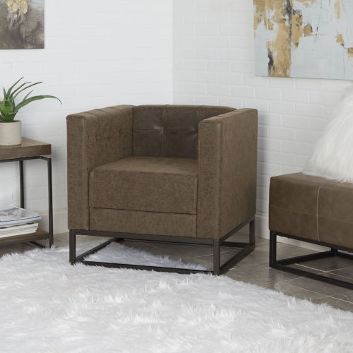 Amina Distressed Brown and Textured Black Square Upholstered Accent Chair