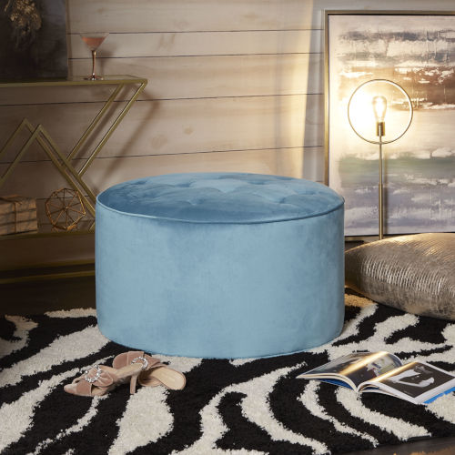 Marlowe Capri Blue Round Ottoman