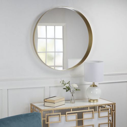 Noah Flat Gold Round Metal Wall Mirror