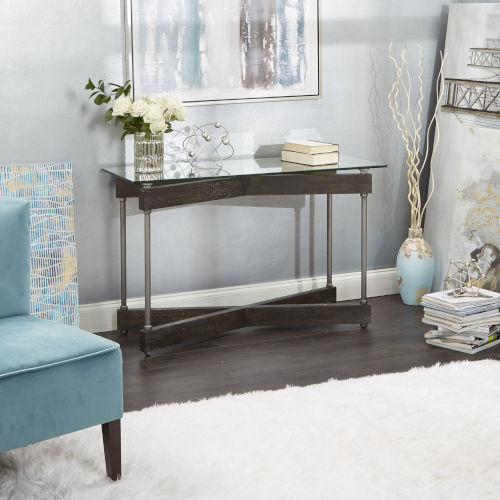 Oliver Textured Dark Brown and Silver X-Frame Console Table