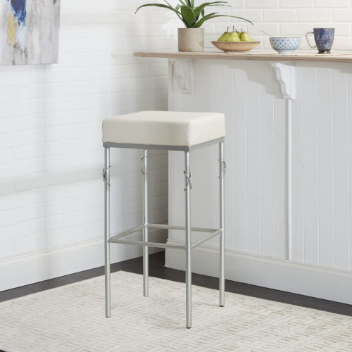 Harper Silver and White Upholstered Square Backless Barstool