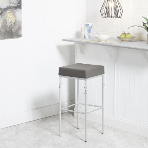 Harper Charcoal and Silver 29-Inch Upholstered Square Backless Barstool