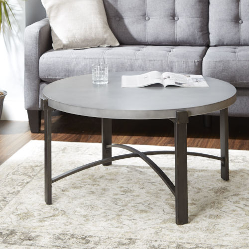 Saint Brass and Gunmetal Round Coffee Table