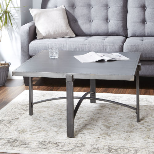 Saint Brass and Gunmetal Square Coffee Table