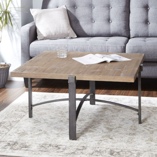 Saint Pine and Gunmetal Square Coffee Table