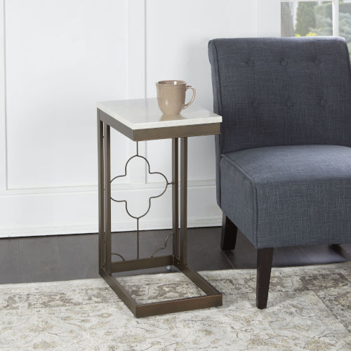 Charlotte Bronze and Faux Marble C-Table