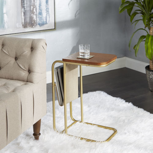 Jaxtyn Brown C Table with Sling Magazine Holder