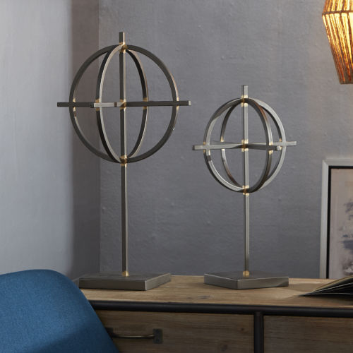 Black Pewter and Gold Orbs on Stands, Set of Two
