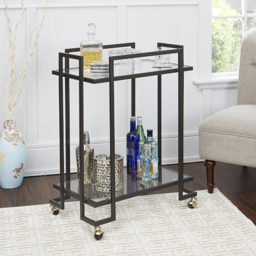 Gunmetal and Gold Two-Tier Rectangular Serving Cart