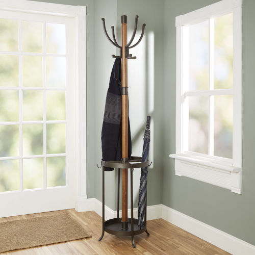 Gunmetal Metal and Wood Coat Rack with Umbrella Stand