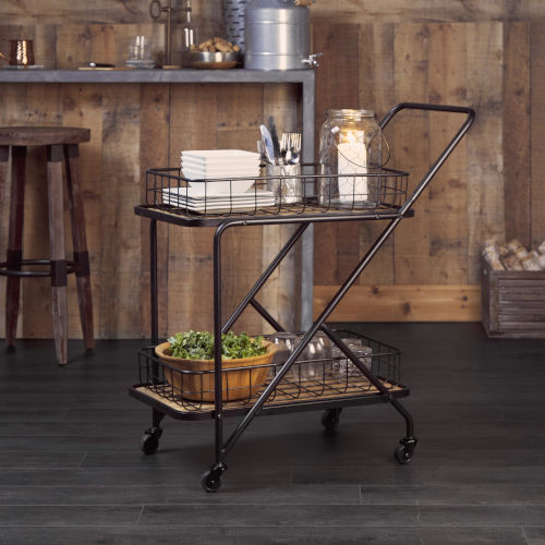 Black and Brown Asymmetrical Frame Bar Cart