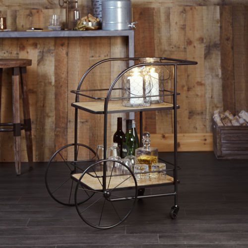 Black and Brown Trolley Frame Bar Cart