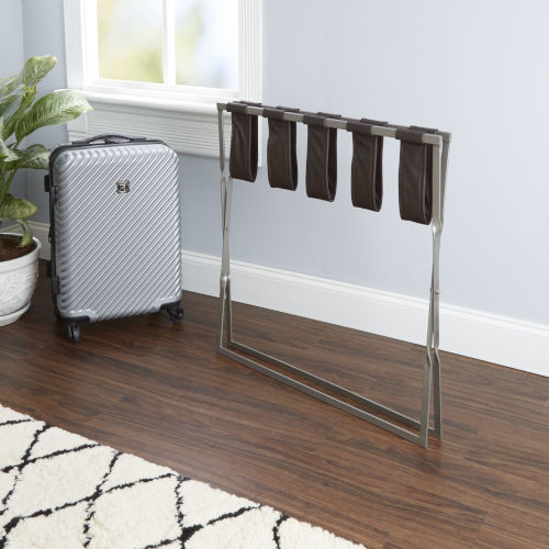Dark Brown and Chrome Luggage Rack