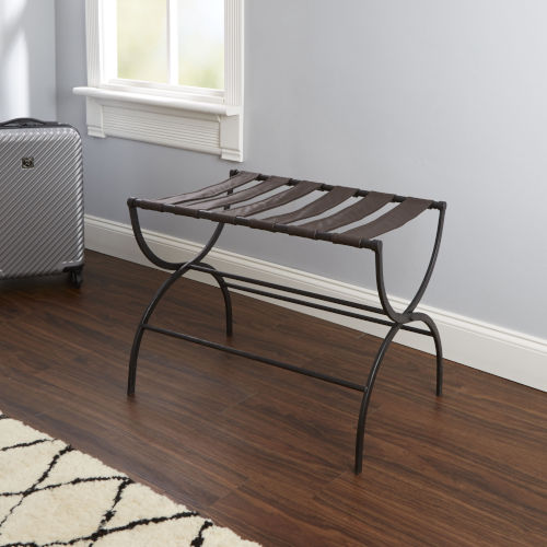 Dark Brown and Gunmetal Folding Luggage Rack