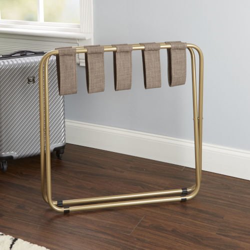 Dark Brown and Gold Luggage Rack