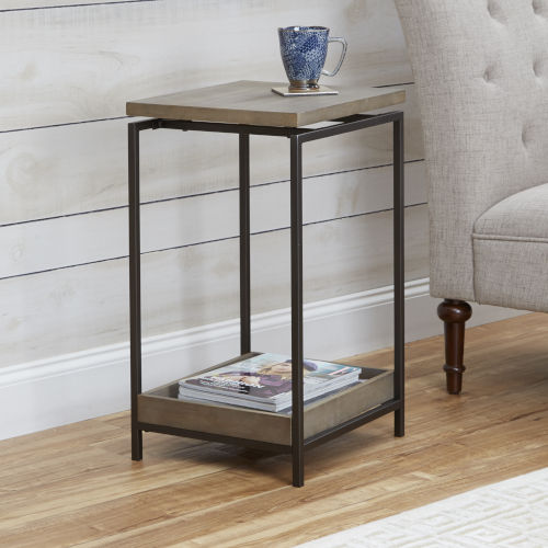 Light Graphite and Gunmetal End Table with Floating Wood Top