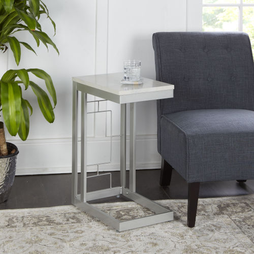 Silver and Faux Marble Square C Table