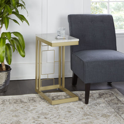 Gold and Faux Marble Square C Table