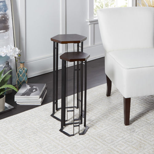 Espresso Oak and Flat Black Hexagon Nesting Table, Set of Two