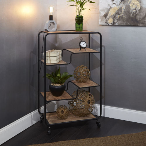 Gunmetal and Light Graphite Wood Multi-tiered Table Cart