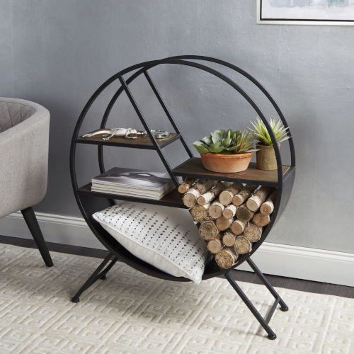Black Round Asymmetrical Tiered Accent Table