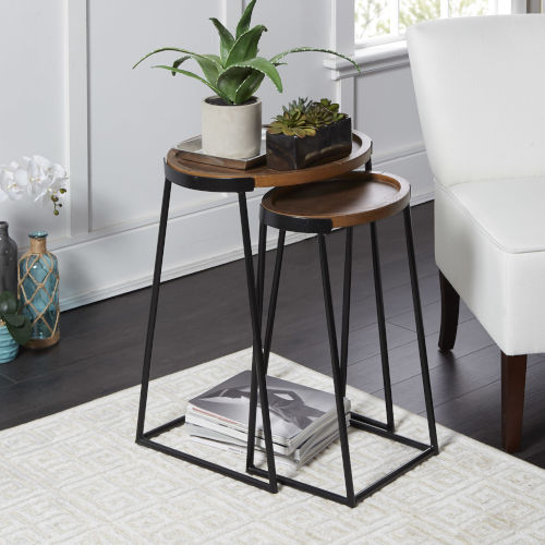 Black Metal and Dark Wood Nesting Tables, Set of Two