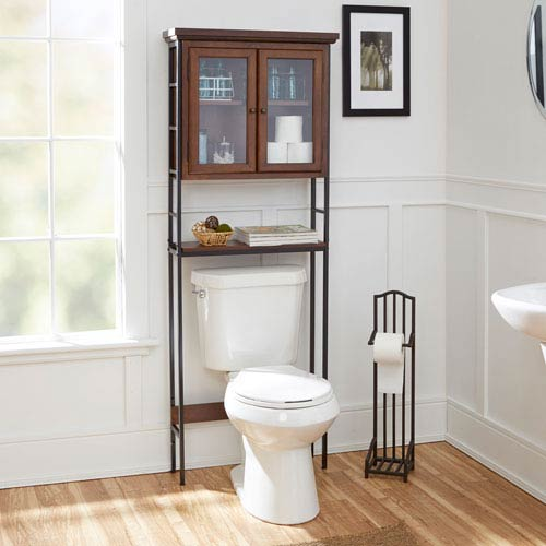 Magnolia Bathroom Collection Three Tier Space Saver with Glass Doors