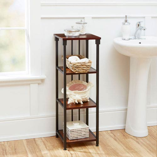 North Oaks Ava Bathroom Collection 4-Tier Floor Shelf, Oil Rubbed Bronze