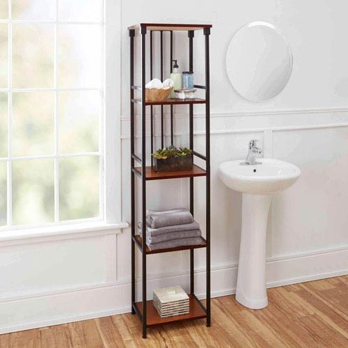Ava Bathroom Collection 5 Tier Linen Shelf, Oil Rubbed Bronze