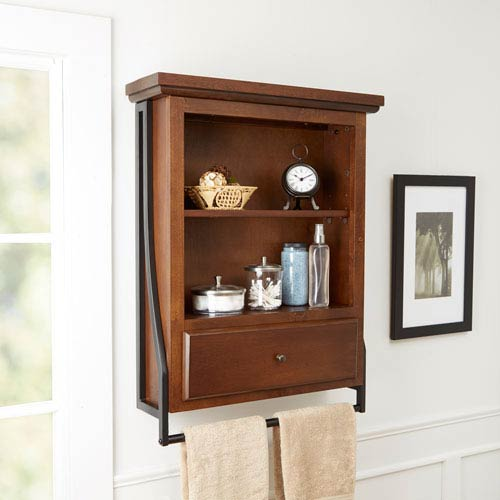 North Oaks Magnolia Bathroom Collection Two Tier Wall Shelf with Drawer