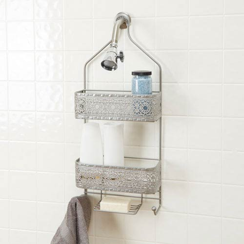 Magnolia Bathroom Collection Two Shelf Shower Caddy with Soap Holder, Nickel