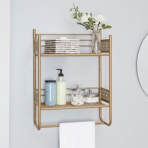 North Oaks Magnolia Bathroom Collection Wall Shelf, Gold