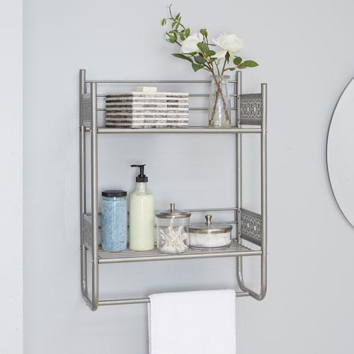 Magnolia Bathroom Collection Wall Shelf, Nickel